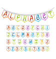 Bunting alphabet and numbers set vector image