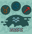 zodiac flat concept icons vector image