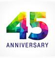 45 anniversary color logo vector image vector image