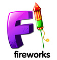 A letter F for fireworks vector image vector image