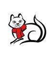 abstract icon of a cat with red scarf vector image
