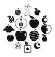 apple icons set design logo simple style vector image