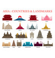 asia countries landmarks colorful silhouette vector image vector image