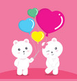 bears balloon love pink valentine vector image vector image