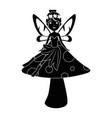 beautiful fairy in mushroom character vector image