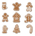 big set christmas gingerbread vector image vector image