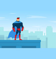 brave muscular superhero character in blue waving vector image vector image