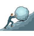 businessman pushing rock uphill pop art vector image vector image