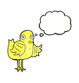 cartoon bird waving wing with thought bubble vector image vector image