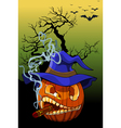 cartoon evil pumpkin smoking a cigar vector image vector image