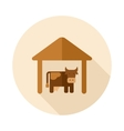 Cowshed flat icon with long shadow vector image vector image