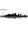 davenport iowa city skyline silhouette with black vector image vector image