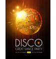 disco party flyer template with mirror ball stage vector image vector image