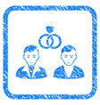 gays marriage framed stamp vector image vector image