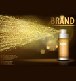 gold spray bottle isolated on black background vector image vector image