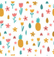 hand drawn summer seamless pattern with flowers vector image vector image