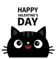 happy valentines day black cat face head vector image vector image