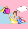 happy woman on shopping cartoon concept vector image vector image