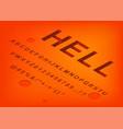 hell alphabet isometric 3d font design three vector image vector image