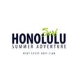 honolulu surfing emblem or logo vector image vector image