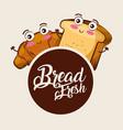 kawaii bread fresh croissant toast cartoon food vector image vector image