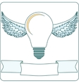 Light Bulb with Wings and Banner stock vector image vector image