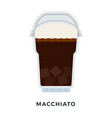 macchiato coffee with ice cubes flat isolated vector image