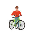 man standing next to his bike active lifestyle vector image vector image