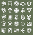 Military icons symbol set on green vector image vector image