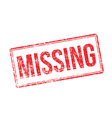 Missing red rubber stamp on white vector image vector image