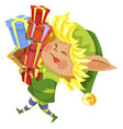 new year elf character holding presents vector image vector image