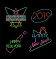 new year neon light set label retro 2019 elements vector image