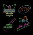 new year neon light set label retro 2019 elements vector image vector image