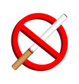 no smoke cigarette icon prohibition sign vector image