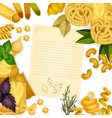 pasta and herbs around paper with copy space vector image vector image
