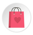 pink shopping bag with heart icon circle vector image vector image
