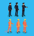 police officer and firefighter vector image