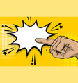 pop art strong man hand show finger pointer vector image vector image