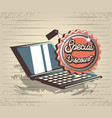 retro store label with laptop vector image vector image