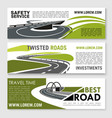 safety road construction and travel banners vector image vector image