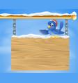santa hat bluebird snowy sign vector image vector image