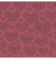 Seamless pattern with embroidery of hearts vector image vector image