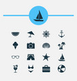 season icons set collection of sea star smelting vector image vector image