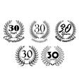 Set of 30 Years anniversary laurel wreaths vector image vector image