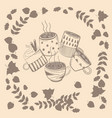 set of different coffee cups in autumn leaves vector image