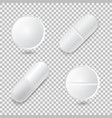 set of four different realistic white pills vector image vector image