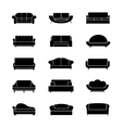 Sofas and couches furniture black icons vector image