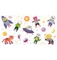 space animal kids cartoon bacharacters in vector image vector image