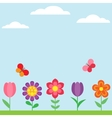 Spring flower background with butterflies vector image