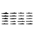 submarines black silhouettes set vector image vector image